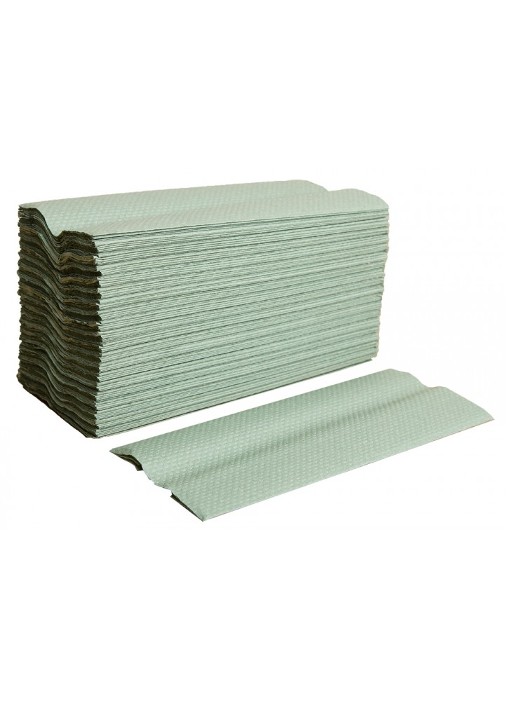 1 Ply 'C' Fold Green Hand Towel (330 x 230mm)