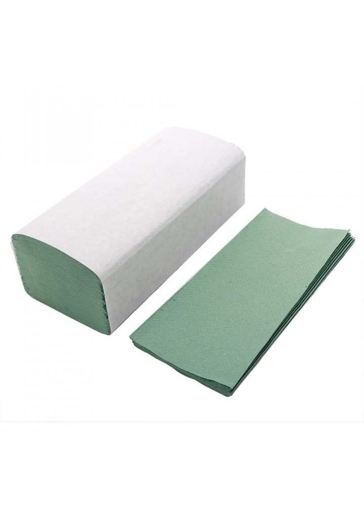1 Ply 'V' Economy Green Hand Towels  (250 x 230mm)