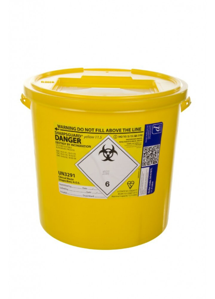 Sharps Bin Yellow Lid 11.5 Litre