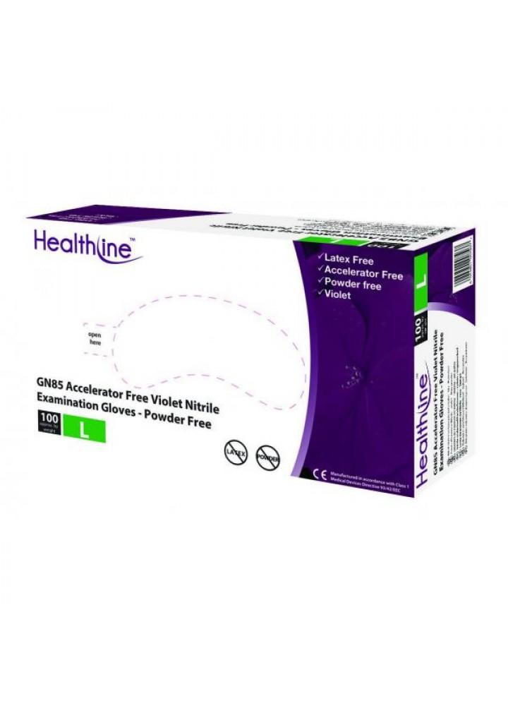 Healthline Violet Nitrile Powder Free Examination Gloves