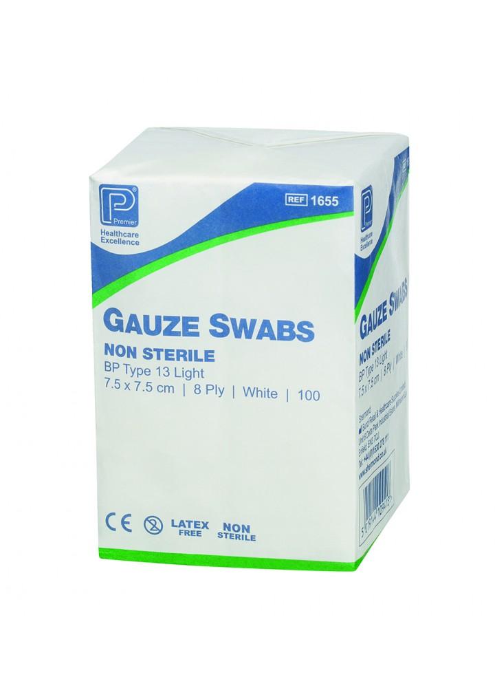 Premier Gauze Swabs Non-Sterile 7.5 x 7.5cm