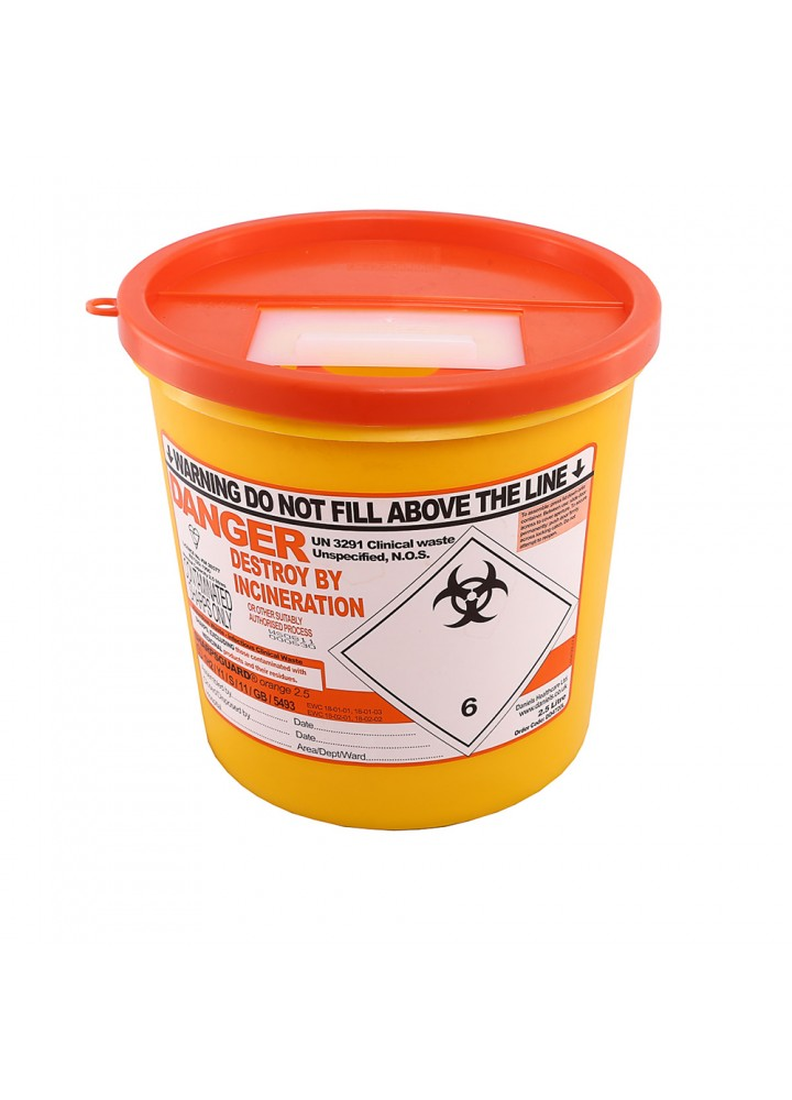 Sharps Bin Orange Lid 2.5 Litre