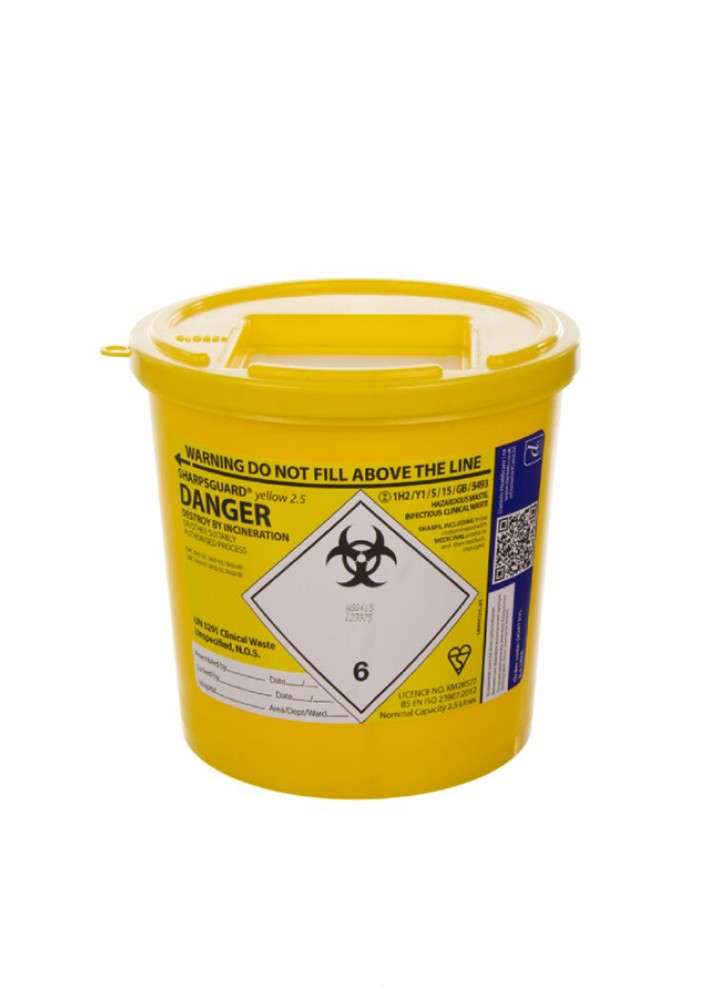 Sharps Bin Yellow Lid 2.5 Litre