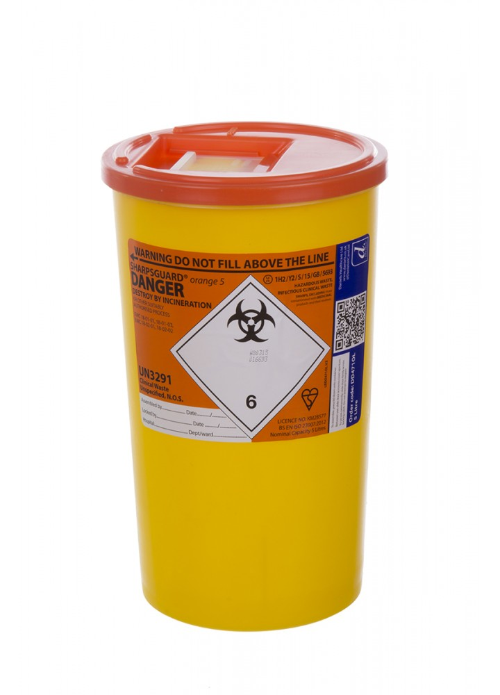 Sharps Bin Orange Lid 5 Litre