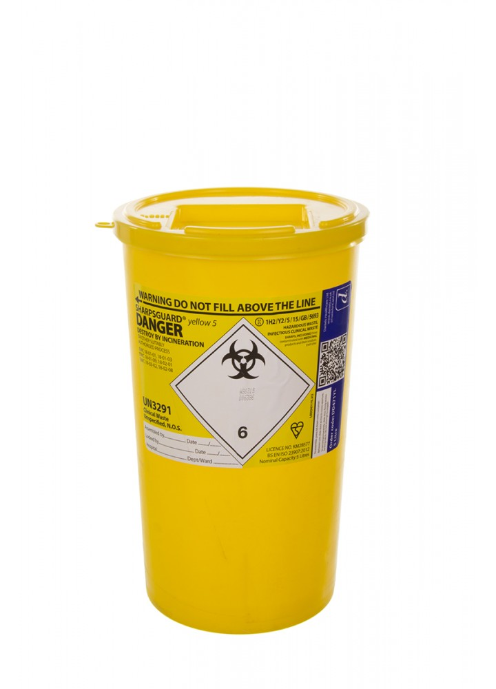 Sharps Bin Yellow Lid 5 Litre