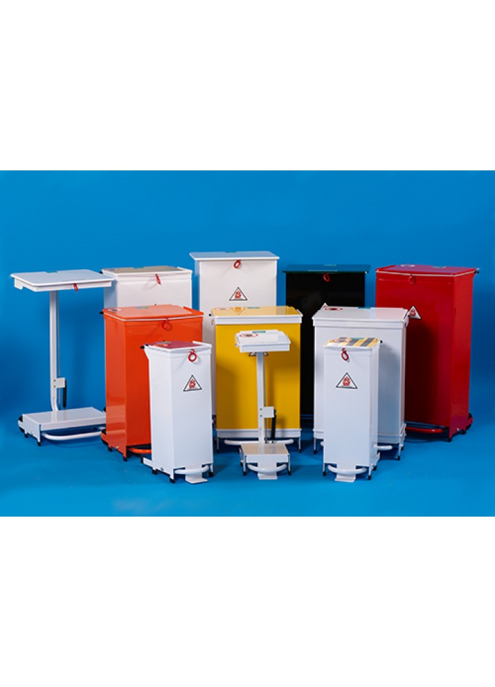 Clinical Waste Sack Holder 20 Litre  Orange Lid - Pedal & Hand Opening